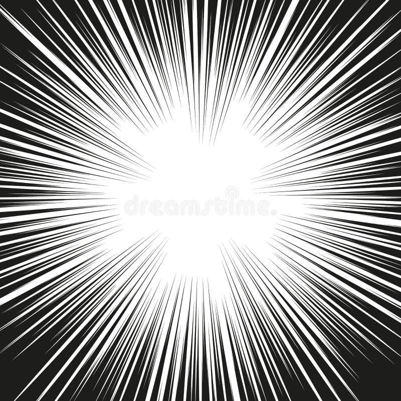 Muita velocidade radial cômica preta alinha na base branca Ilustração da explosão do poder do efeito Elemento do projeto da banda ilustração do vetor