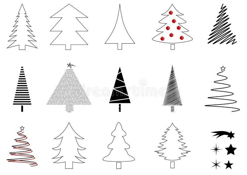 Muitas árvores de Natal ilustração stock