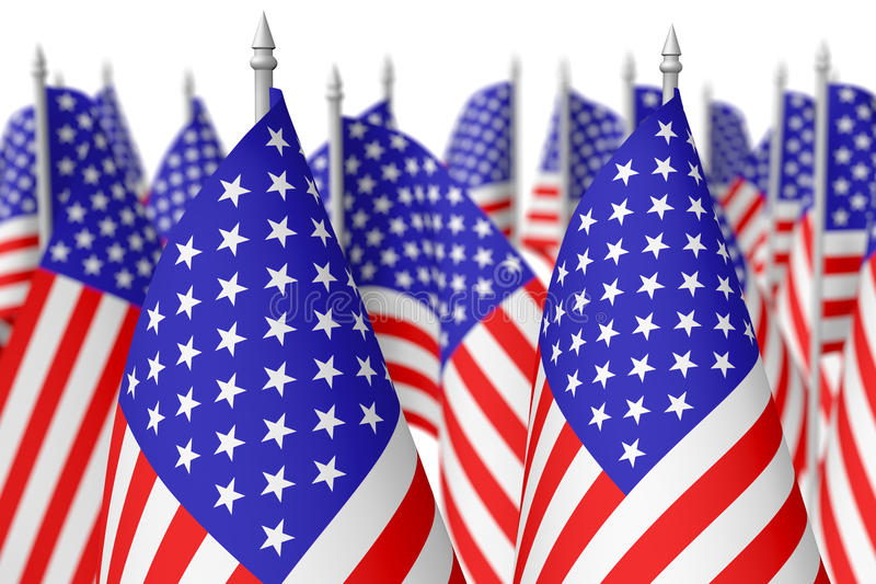 Muitas bandeiras americanas pequenas, foco seletivo ilustração do vetor