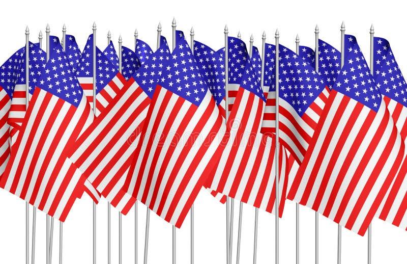 Muitas bandeiras americanas pequenas na fileira isoladas no branco ilustração do vetor