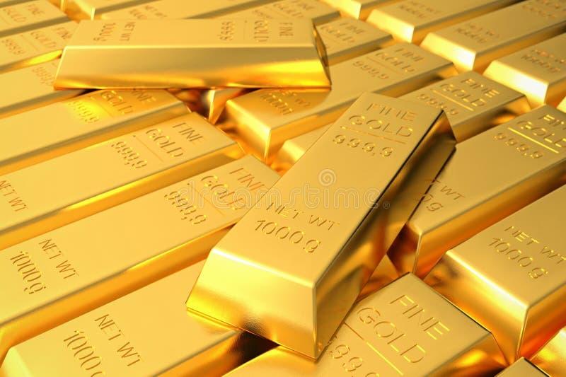 Muitas barras de ouro empilhadas no armazém ilustração royalty free
