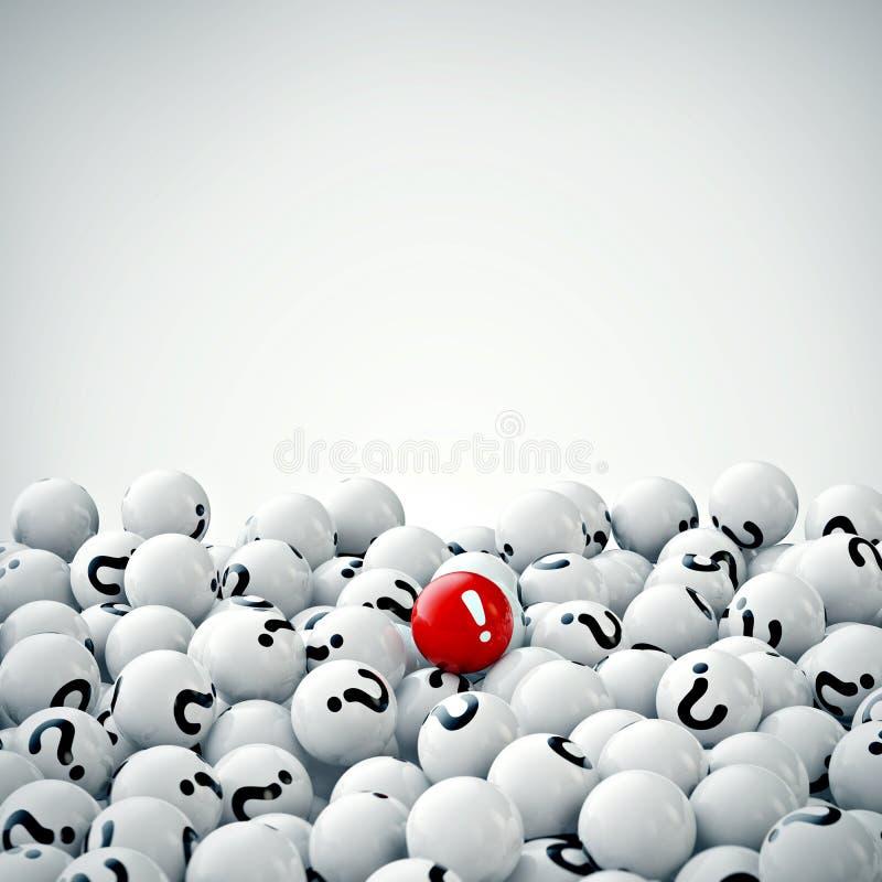 Muitas bolas cinzentas com pontos de interrogação rendição 3d ilustração royalty free