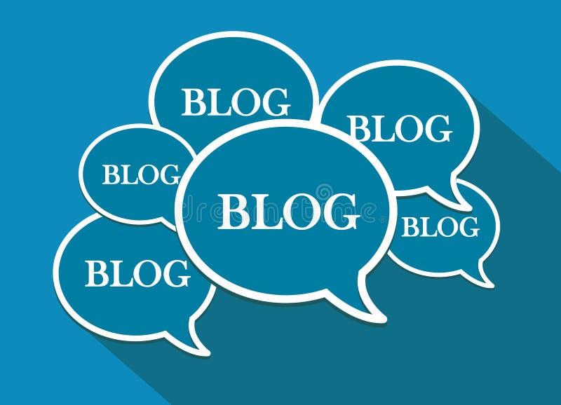Muitas bolhas do discurso Ícones e símbolos do blogue Projeto liso ilustração stock
