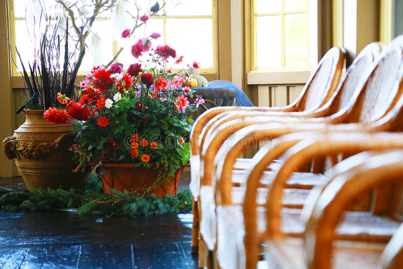 Muitas cadeiras e decorações da flor fotografia de stock royalty free