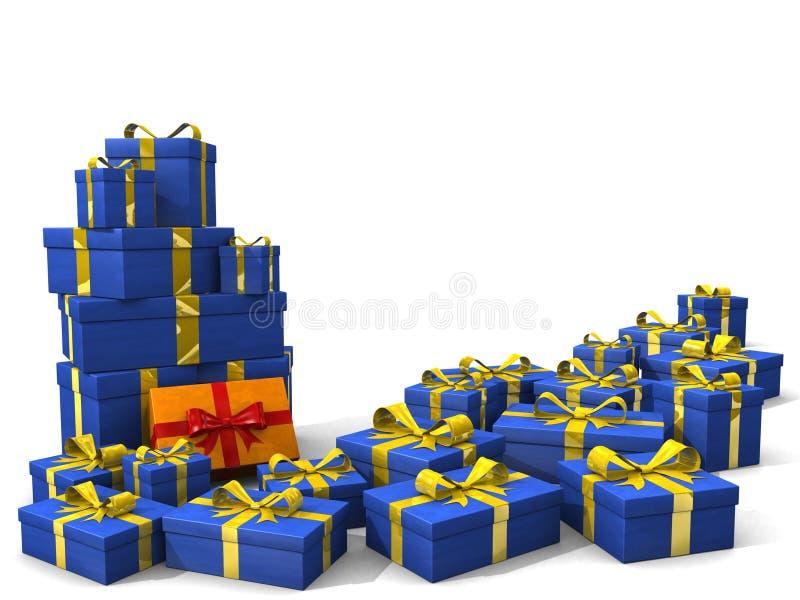 Muitas caixas de presente 3d ilustração do vetor