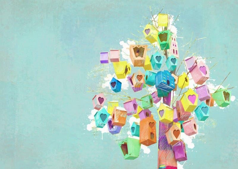 Muitas casas do pássaro em uma árvore Conceito da comunidade Decoração do aviário Assentamento-caixas pintadas ilustração stock