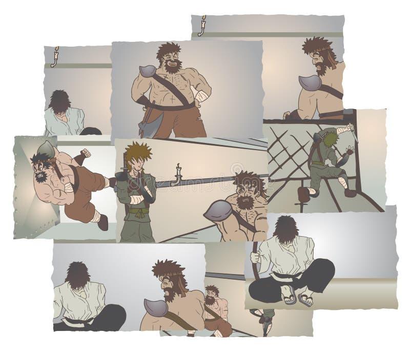 Muitas cenas cômicas ilustração stock