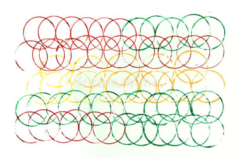 Muitas cores de círculos sobrepostos no branco fotos de stock royalty free