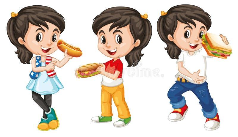 Muitas crianças com fastfood feliz comer da cara ilustração royalty free