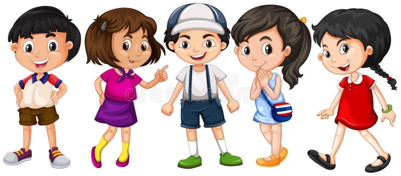 Muitas crianças com sorriso grande ilustração royalty free