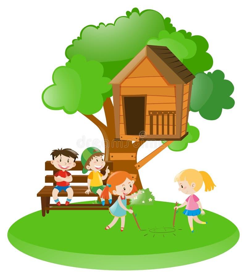 Muitas crianças que jogam no jardim ilustração do vetor