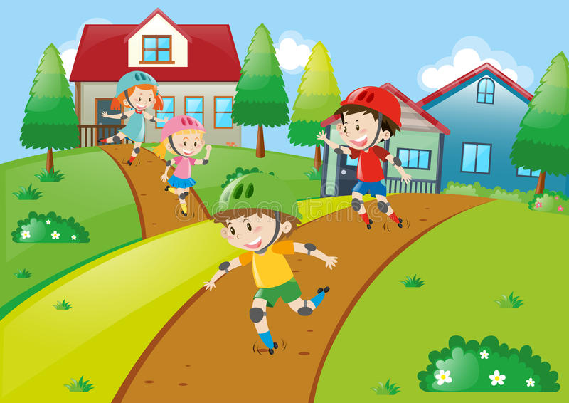 Muitas crianças que patinam na vizinhança ilustração royalty free