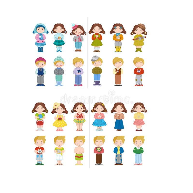 Muitas emoções diferentes da menina e do menino ilustração do vetor