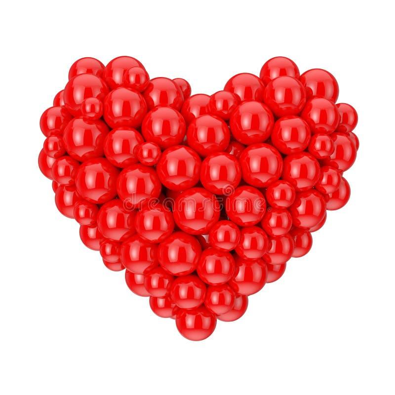 Muitas esferas vermelhas na forma do símbolo do coração do amor rendição 3d ilustração stock