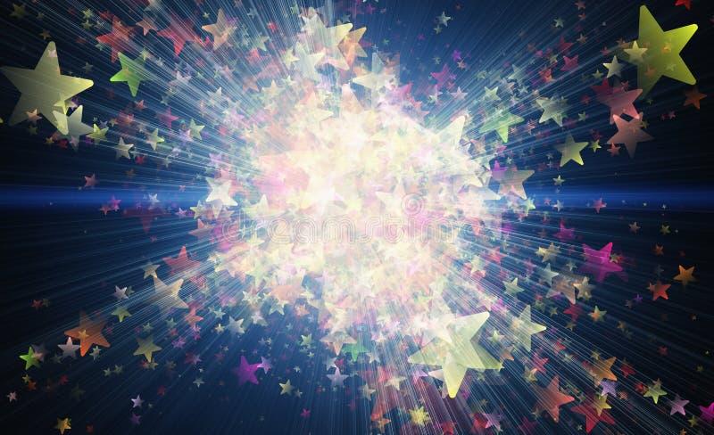 Muitas estrelas coloridos do voo em fundos pretos ilustração royalty free