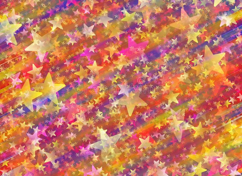 Muitas estrelas pintadas em fundos coloridos do fulgor ilustração do vetor