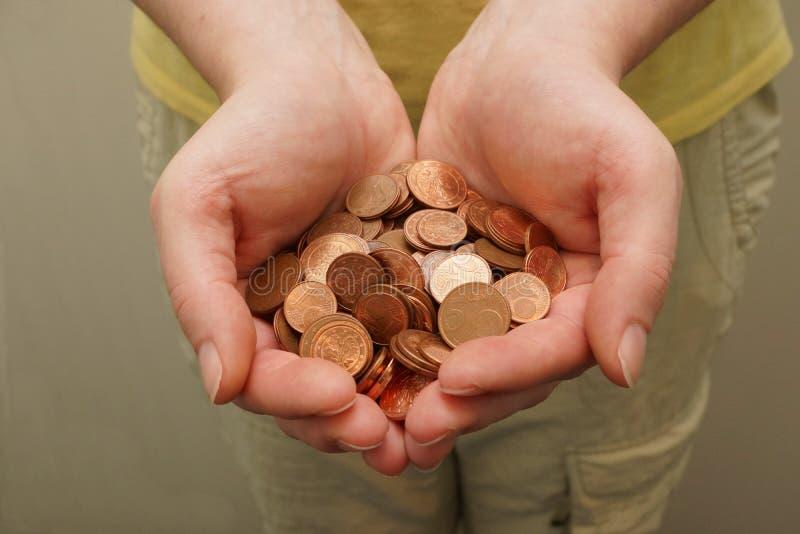 Muitas euro- moedas do centavo foto de stock royalty free