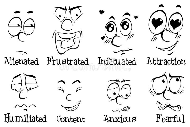 Muitas expressões faciais do ser humano ilustração stock