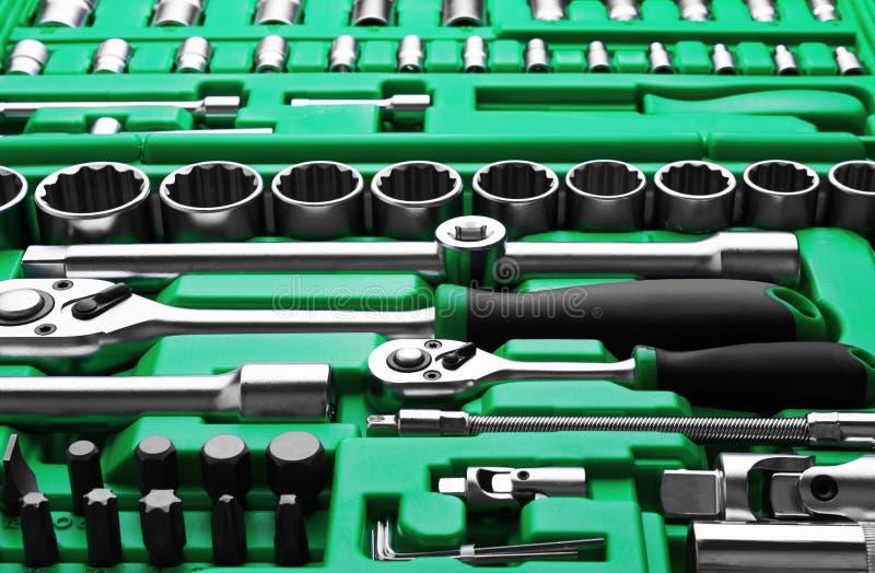 Muitas ferramentas na caixa de ferramentas imagem de stock royalty free