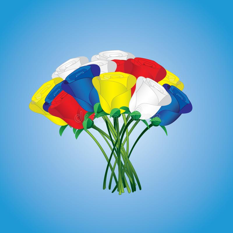 Muitas flores coloridas da rosa para expressar o amor ilustração royalty free