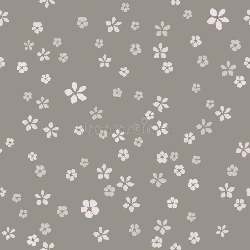 Muitas flores pequenas simples com núcleo do ouro no fundo cinzento cinzento ilustração stock