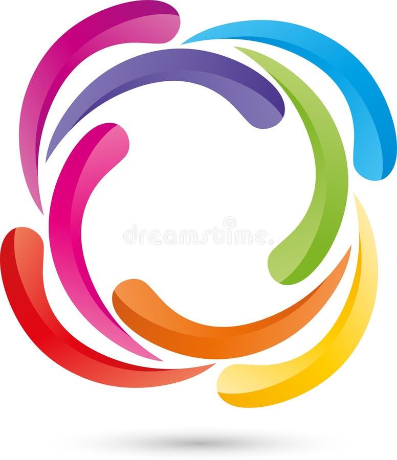 Muitas gotas, espiral, colorida, logotipo ilustração stock