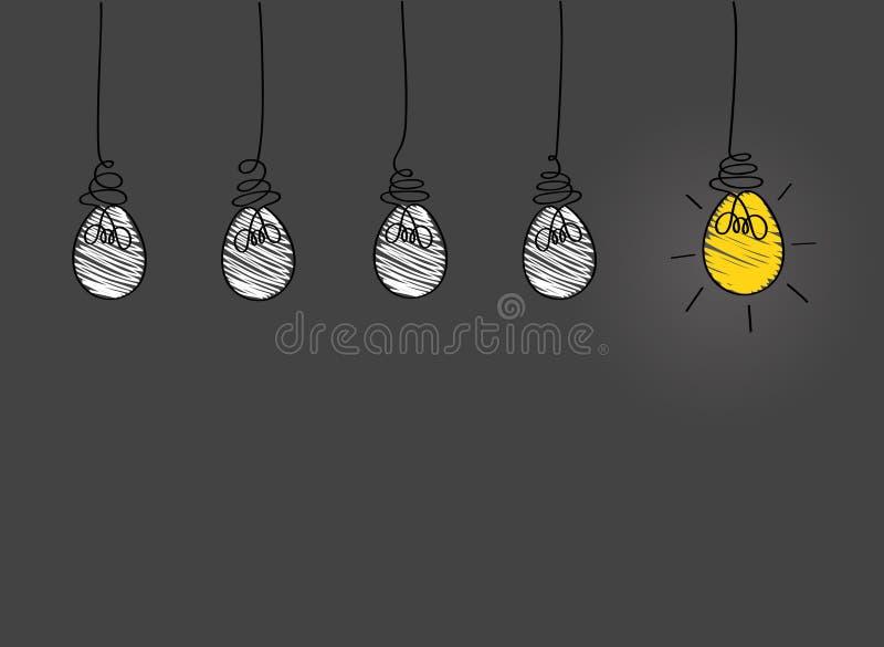 Muitas lâmpadas que penduram de cima de Conceito do ícone das ampolas da ideia ilustração royalty free