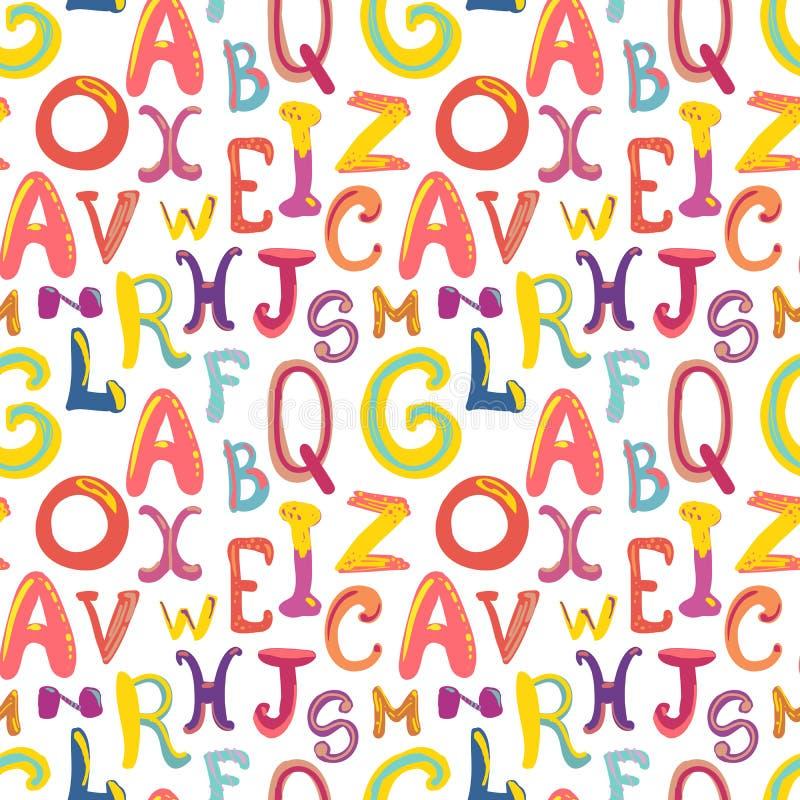 Muitas letras funky bonitos desenhados à mão no teste padrão branco, sem emenda ilustração do vetor