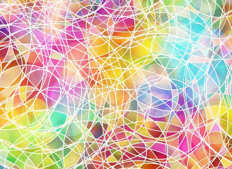 Muitas linhas tangled em fundos coloridos ilustração royalty free