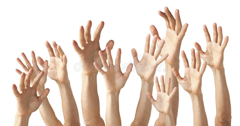 Muitas mãos imagens de stock royalty free