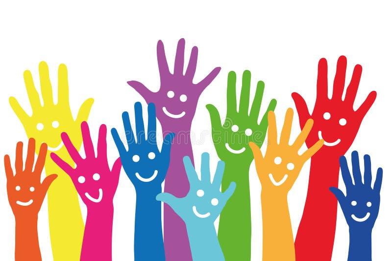 Muitas mãos coloridas com smiley ilustração stock
