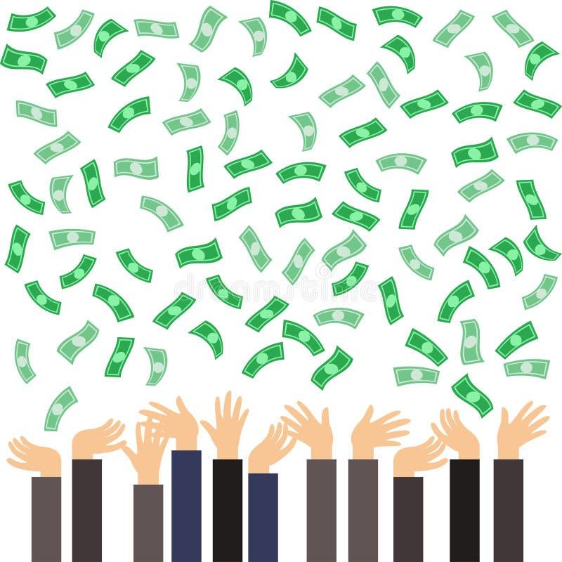 Muitas mãos com as cédulas dos dólares que voam no ar ilustração royalty free