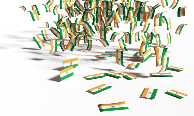 Muitas notas e bandeiras da Índia estão caindo para baixo ilustração stock