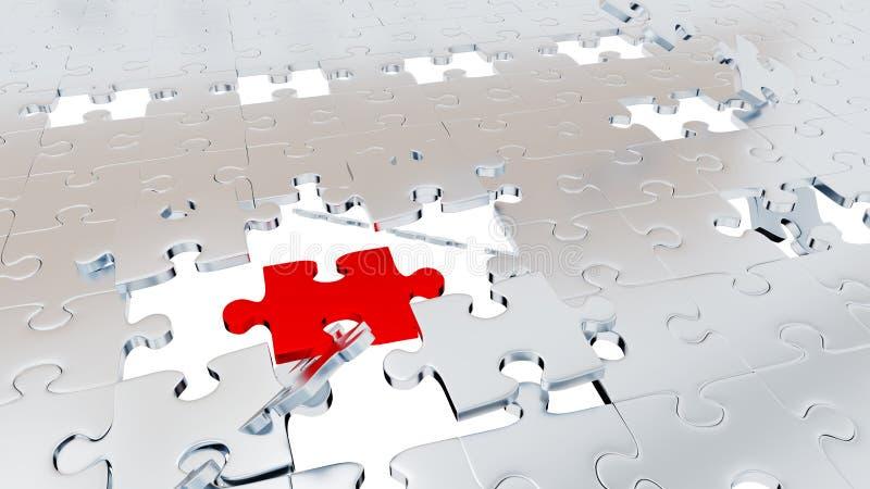 Muitas partes de Grey Puzzle com poucos furos e uma parte vermelha grande ilustração stock