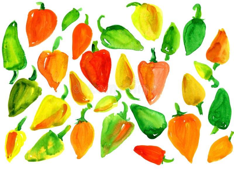 Muitas pimentas doces coloridos ilustração royalty free
