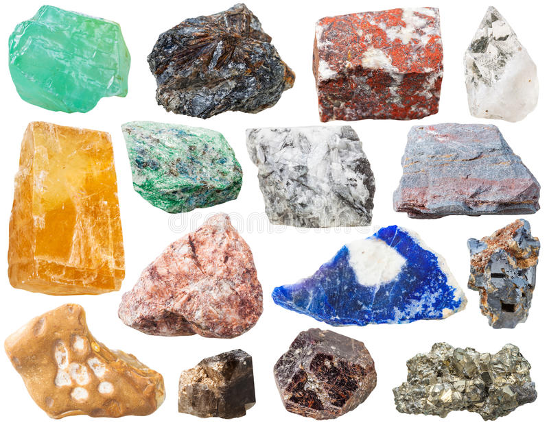 Muitas rochas e pedras de mineral isoladas imagens de stock royalty free