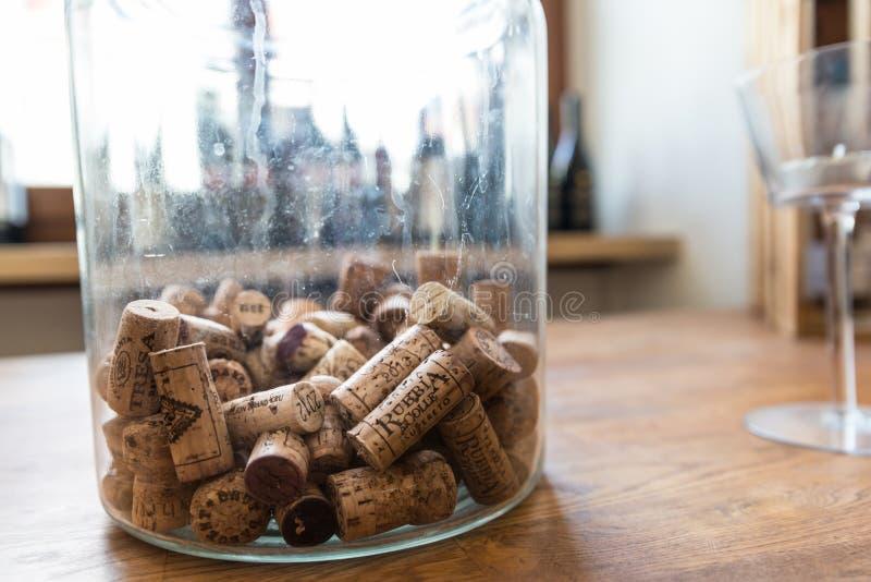 Muitas taças de vinho diferentes num grande refrigerador de champanhe imagem de stock royalty free