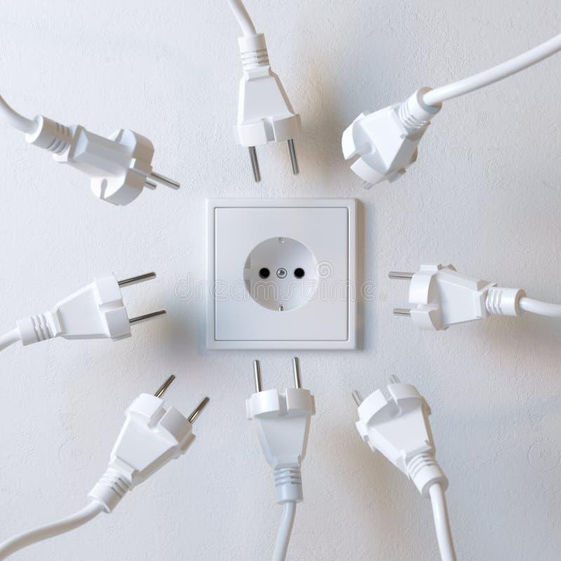 Muitas tomadas elétricas estão lutando pelo poder da versão 2 de soquete de parede imagens de stock