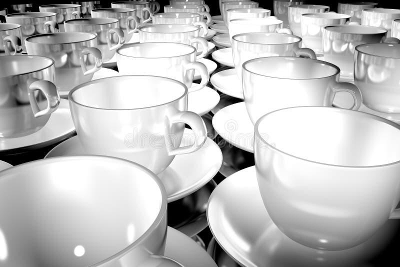 Muitas xícaras de café brancas ilustração do vetor