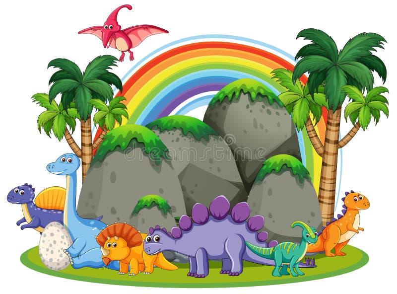 Muito dinossauro na natureza ilustração royalty free