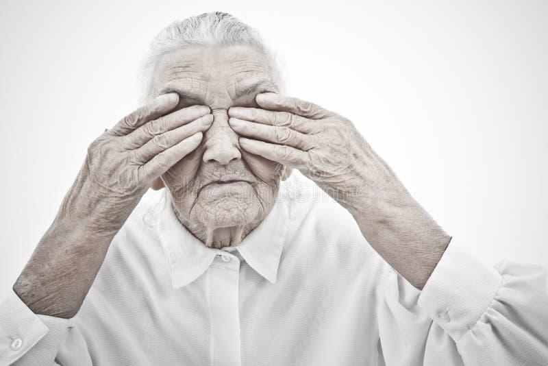 A avó é cega imagens de stock royalty free