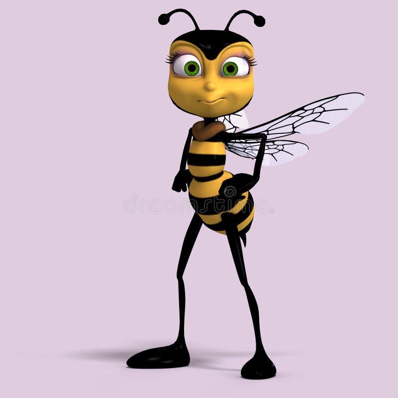 Muito o doce rende de uma abelha do mel no amarelo e no bla ilustração do vetor
