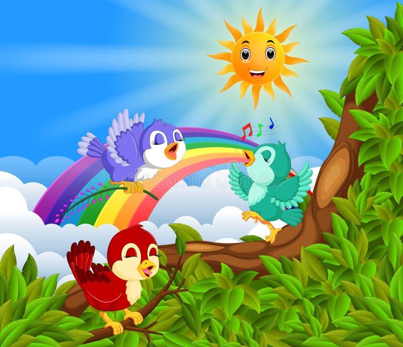 Muito pássaro no ramo de árvore com cena do arco-íris ilustração do vetor