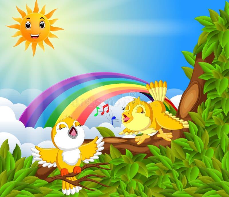 Muito pássaro no ramo de árvore com cena do arco-íris ilustração royalty free