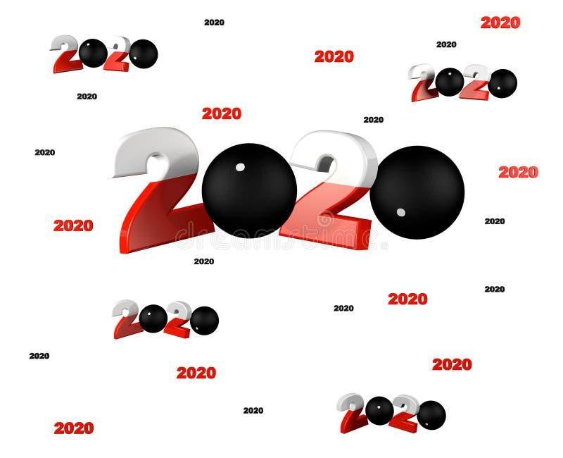 Muito Pala 2020 projetos com muitas bolas de Pelote ilustração royalty free