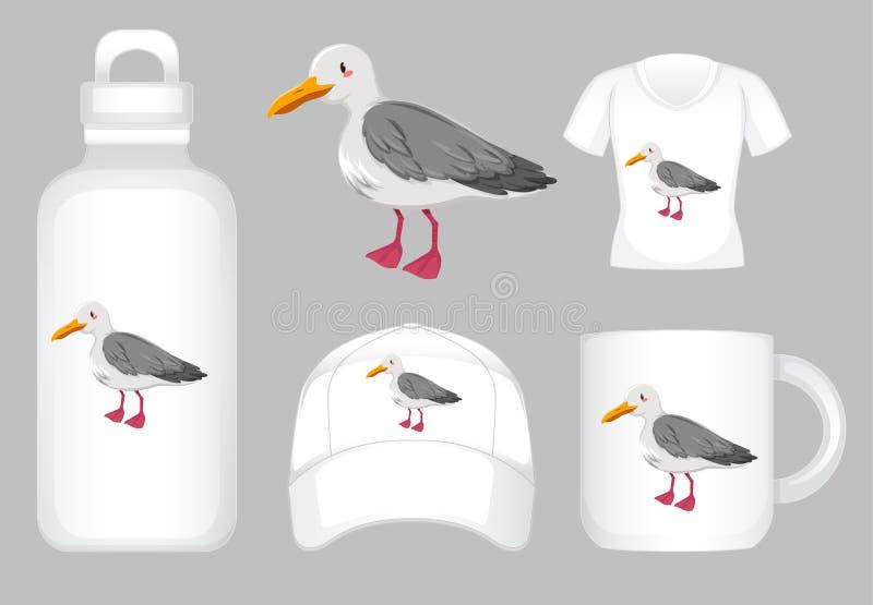 Muito projeto de produto com gráfico do pombo ilustração stock