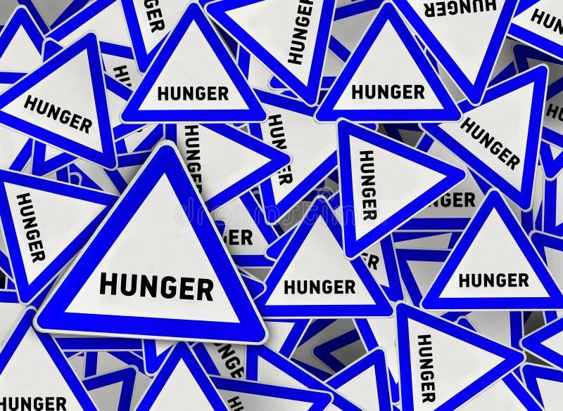 Muito sinal de estrada do triângulo da fome ilustração royalty free