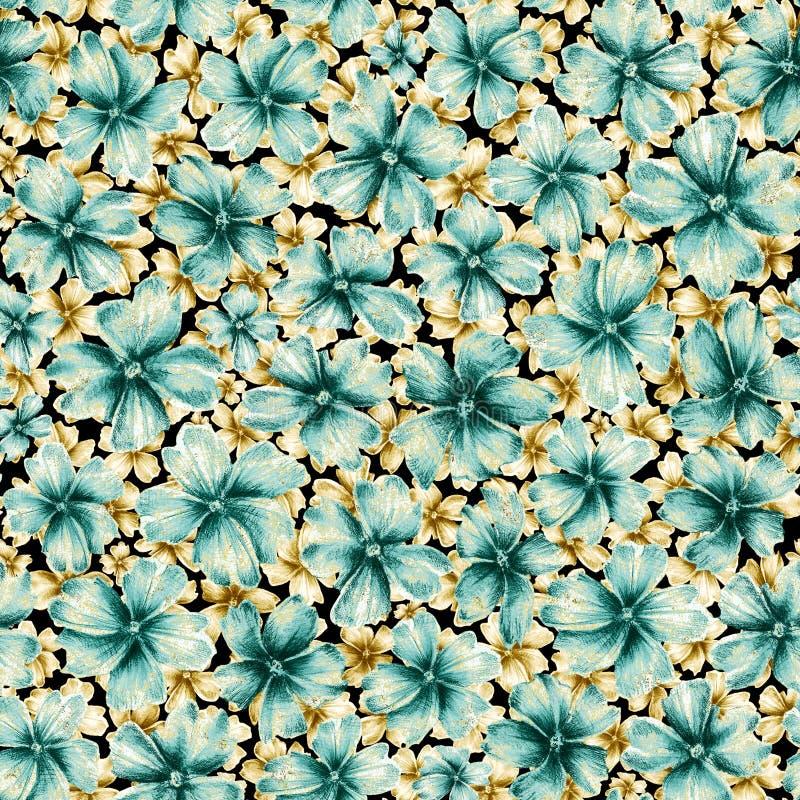 Muito turquesa diferente do tamanho e flores douradas da cor como o broche da joia ilustração do vetor