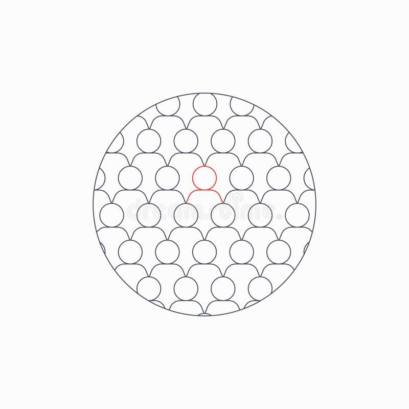 Muitos ?cones cinzentos dos povos entre eles um vermelho Conceito da solid?o ilustração stock