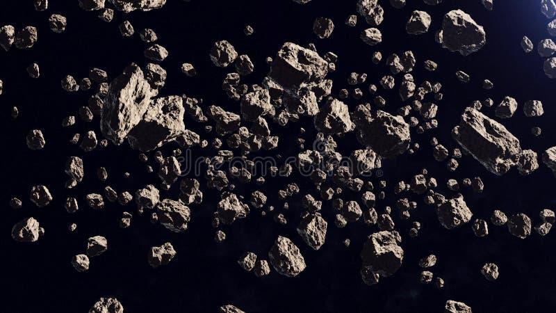 Muitos asteroides distante fora em uma órbita ilustração royalty free